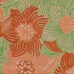 Printed Cotton Paper from India- Orange, Coral, & Green Floral on Gold 22x30 Inch Sheet