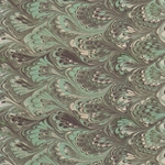"Tassotti Paper- Printed Marble Green-Black Peacock 19.5""x27.5"" Sheet"