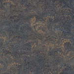 """NEW!"" Handmade Italian Marble Paper- Blue & Gold Peacock 19.5 x 27"" Sheet"