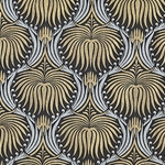 "Art Deco Lotus Paper- Gold and Silver on Black 22x30"" Sheet"