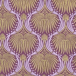 "Art Deco Lotus Paper- Gold and Lavender on Plum 22x30"" Sheet"