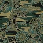 "Waves, Flowers, Fans, & Butterflies in Green, Teal, & Gold - 18""x24"" Sheet"