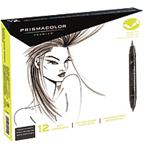 Prismacolor Art Marker - Brush Marker Set Of 12 French Gray