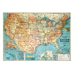 "Cavallini Decorative Paper - USA Map 20""x28"" Sheet"